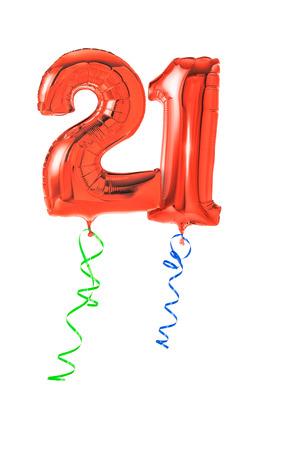 urodziny: Czerwone balony ze wstążką - numer 21