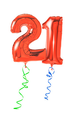 21: Red balloons with ribbon - Number 21