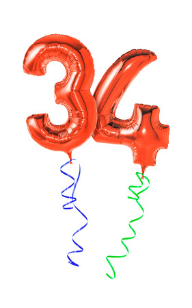 34: Red balloons with ribbon - Number 34