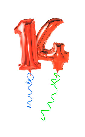 number 14: Red balloons with ribbon - Number 14 Stock Photo