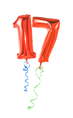 17th: Red balloons with ribbon - Number 17