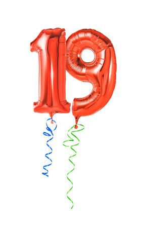 19: Red balloons with ribbon - Number 19