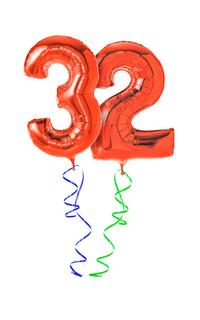 32: Red balloons with ribbon - Number 32