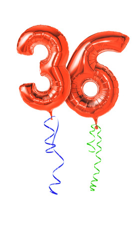 number 36: Red balloons with ribbon - Number 36 Stock Photo