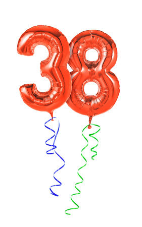 38: Red balloons with ribbon - Number 38