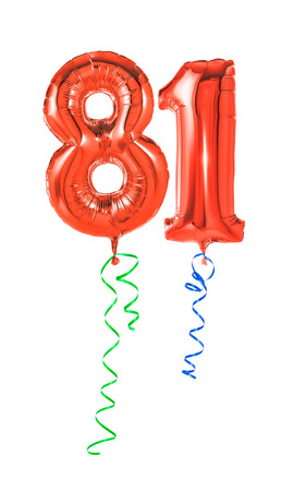 81: Red balloons with ribbon - Number 81 Stock Photo