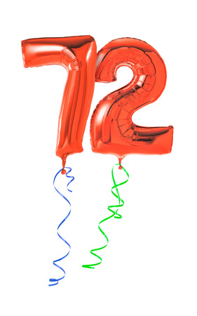 seventy two: Red balloons with ribbon - Number 72 Stock Photo