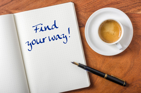 find your way: Notebook on a desk - Find your way Stock Photo