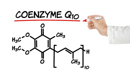 chemical: Chemical formula of coenzyme q10 on a white background