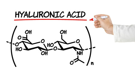 connective: Chemical formula of hyaluronic acid on a white background