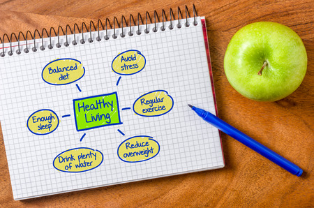 Healthy living written on a notepad Stockfoto