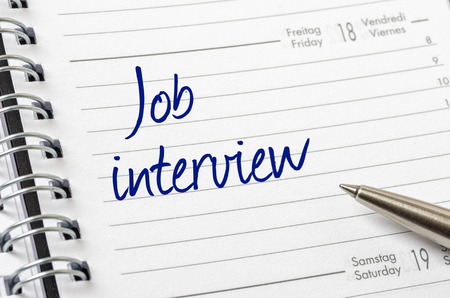 Job interview written on a calendar page