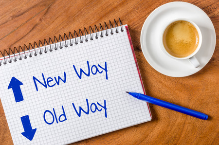 new way: New way- old way written on a notepad Stock Photo