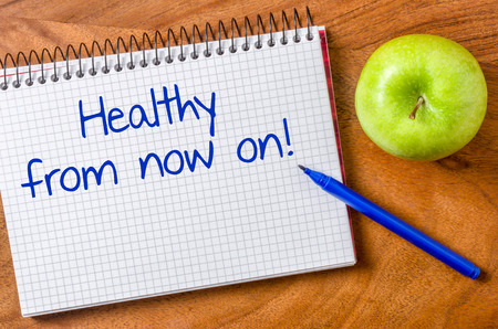 fitness goal: Healthy from now on written on a notepad Stock Photo