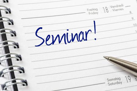 Seminar written on a calendar page photo