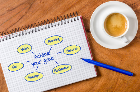 Achieve your goals written on a notepad photo
