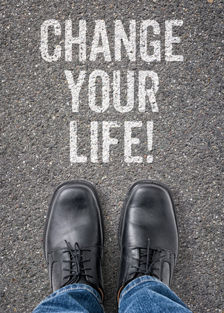Text on the floor - Change your life