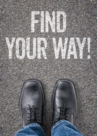 find your way: Text on the floor - Find your way Stock Photo