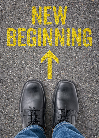 Text on the floor - New beginning Imagens