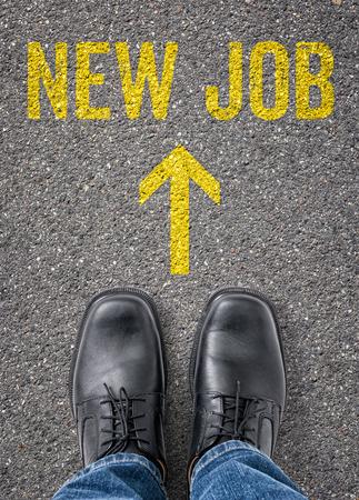 new employee: Text on the floor - New job