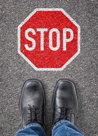 boycott: Text on the floor - Stop Stock Photo