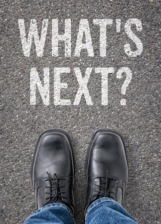 Text on the floor - Whats next Standard-Bild