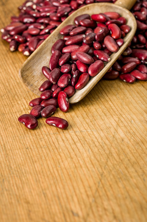common bean: Wooden background with copy space - Kidney beans