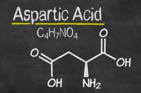 aspartame: Blackboard with the chemical formula of Aspartic acid