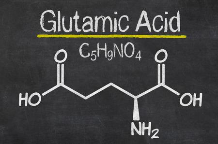 chemical formula: Blackboard with the chemical formula of Glutamic acid