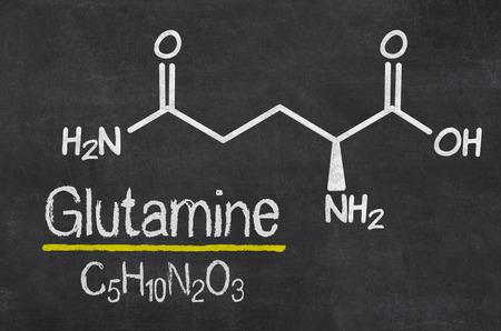 chemical formula: Blackboard with the chemical formula of Glutamine