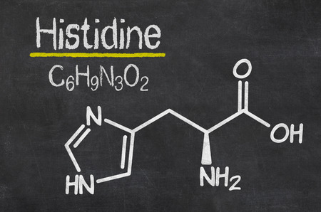 chemical formula: Blackboard with the chemical formula of Histidine
