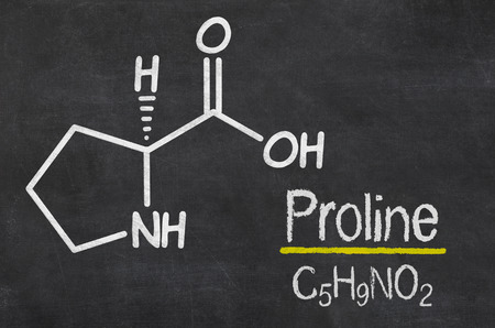 proline: Blackboard with the chemical formula of Proline