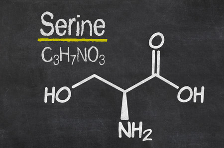 serine: Blackboard with the chemical formula of Serine
