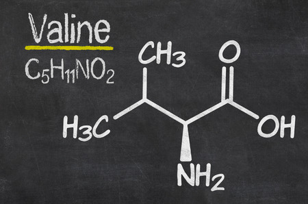 chemical formula: Blackboard with the chemical formula of Valine