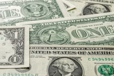us dollar bill: A background with american one dollar bills Stock Photo