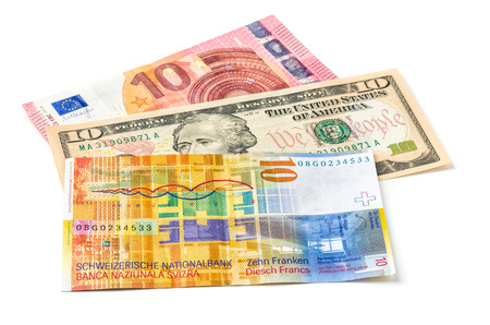 swiss franc: Euro, Dollar and Swiss Franc on a white background