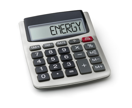 save heating costs: Calculator with the word energy on the display Stock Photo
