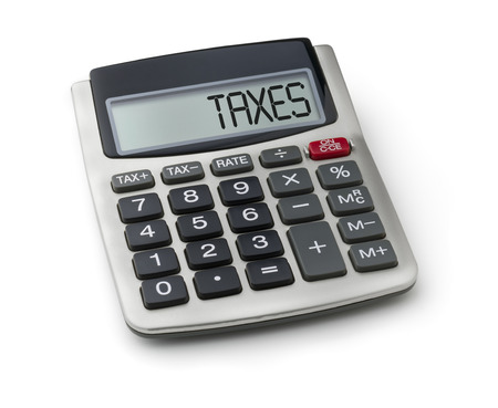 deduct: Calculator with the word taxes on the display