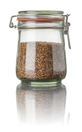 flax seeds: Flax seeds in a jar