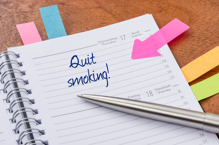 quit smoking: Daily planner with the entry Quit smoking Stock Photo