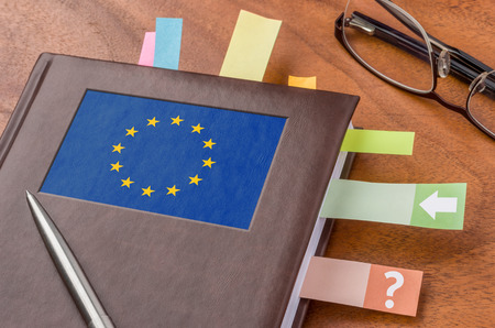 Notebook with the flag of the European Union