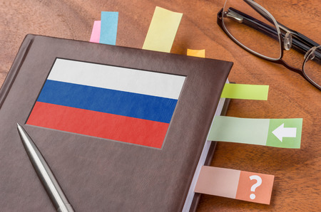 foreign policy: Notebook with the flag of Russia