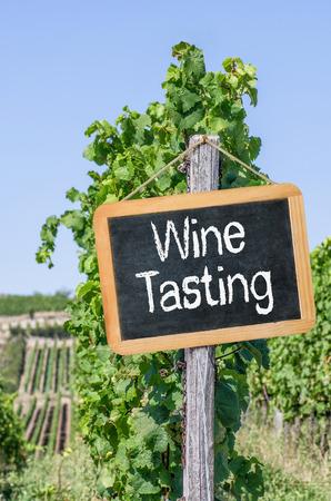 weinverkostung: Blackboard in den Weinbergen - Wine Tasting Lizenzfreie Bilder