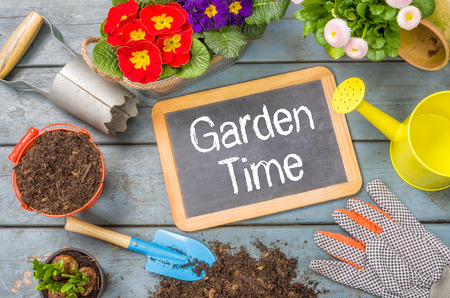 Blackboard on a plant table with garden tools - Garden Time photo
