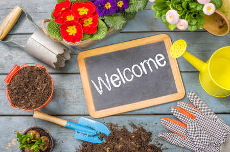 Blackboard on a plant table with garden tools - Welcome photo