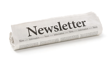 announcements: Rolled newspaper with the headline Newsletter