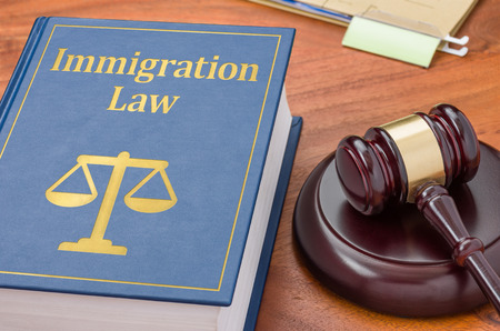 ordenanza: Un libro de la ley con un martillo - La ley de inmigraci�n Foto de archivo