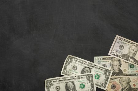 Blank blackboard with money Reklamní fotografie