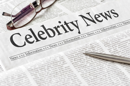 the latest models: A newspaper with the headline Celebrity News Stock Photo