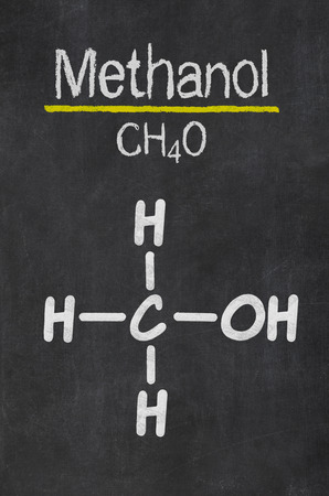 methyl: Blackboard with the chemical formula of  Methanol
